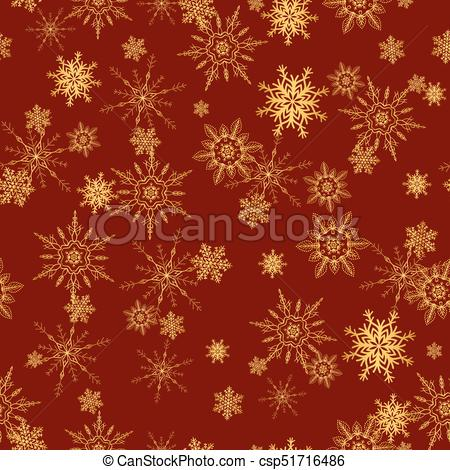 450x470 Seamless Pattern With Gold Snowflakes, For Christmas Wrapping