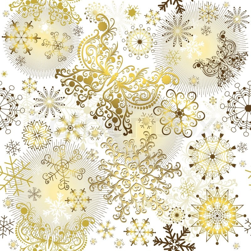 800x800 Seamless White Christmas Pattern With Golden Snowflakes And