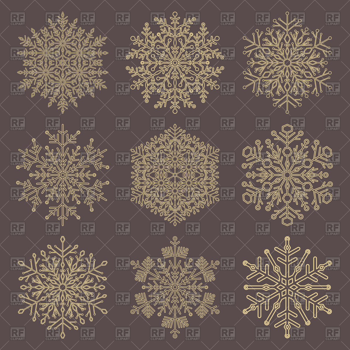 1200x1200 Set Of Gold Snowflakes Lace Vector Image Vector Artwork Of