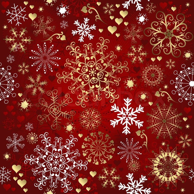 800x800 Christmas Red Seamless Pattern With Gold And White Snowflakes
