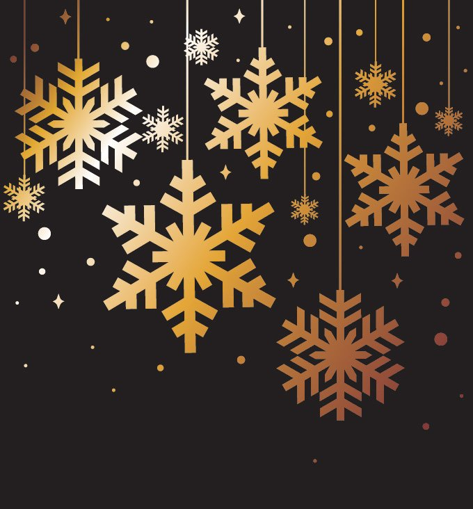 680x732 Free Golden Snowflakes Christmas Background Vector Elements (Free