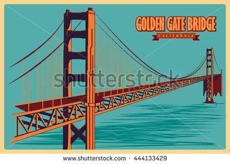 450x320 Golden Gate Bridge Drawing Elegant San Francisco Postcard Vector