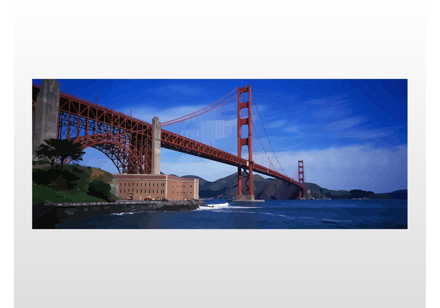 1400x980 Golden Gate Bridge Free Vector Art