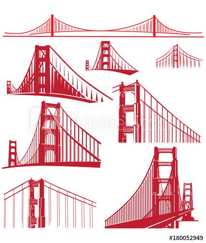 425x500 Golden Gate Bridge Vector Illustration Pack