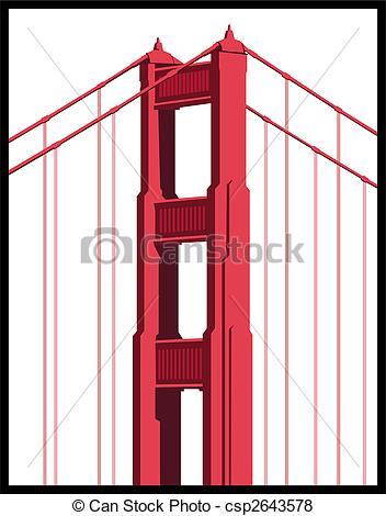 352x470 Golden Gate Bridge Art Isolated On A White Background.