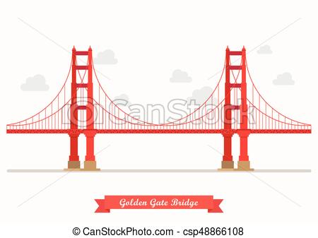 450x337 Golden Gate Bridge Illustration. Flat Style Design Isolated On