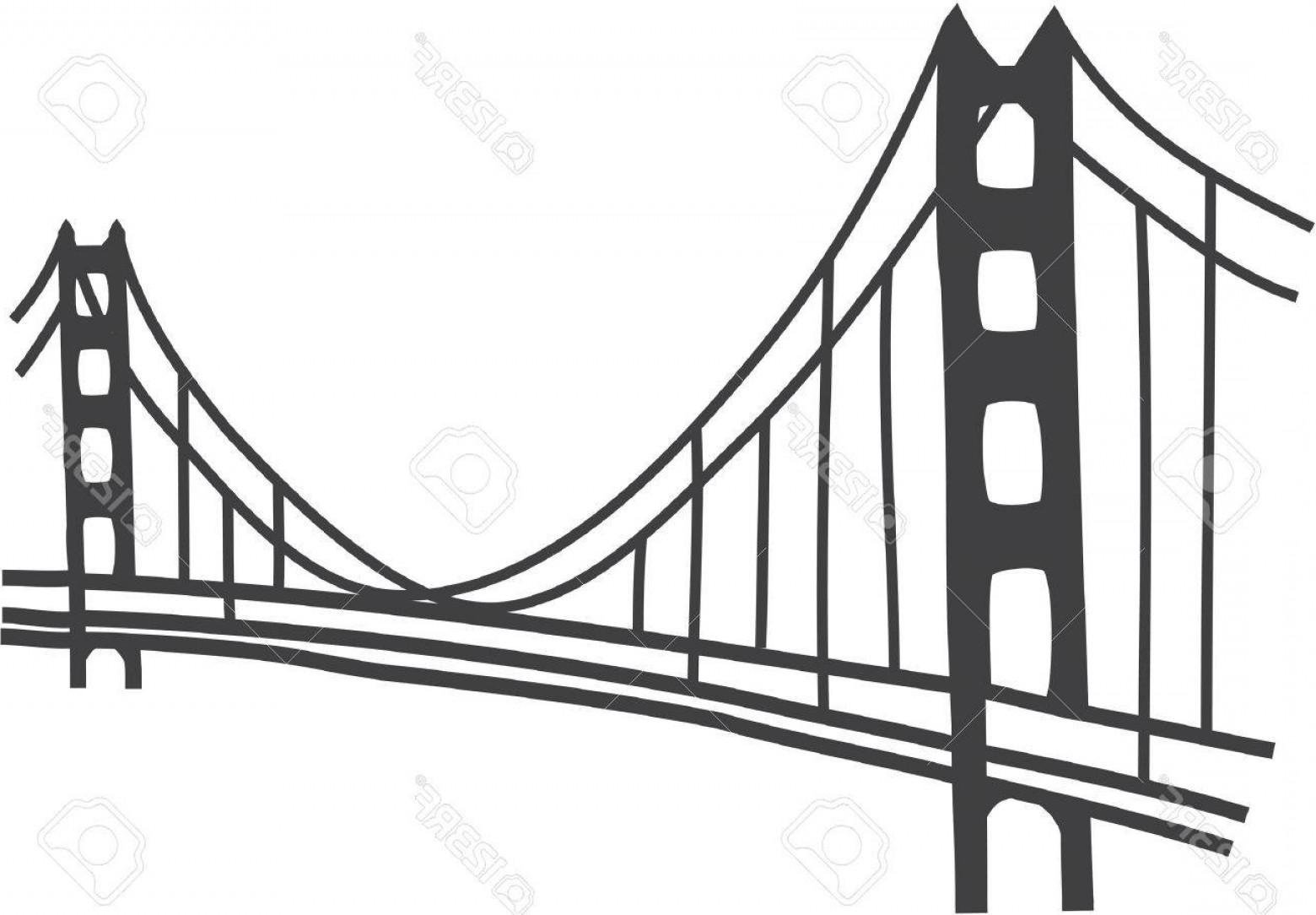 1560x1084 Photostock Vector Illustration Of Golden Gate Bridge San Francisco
