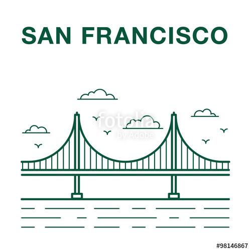 500x500 San Francisco Golden Gate Bridge Line Art Illustration Stock