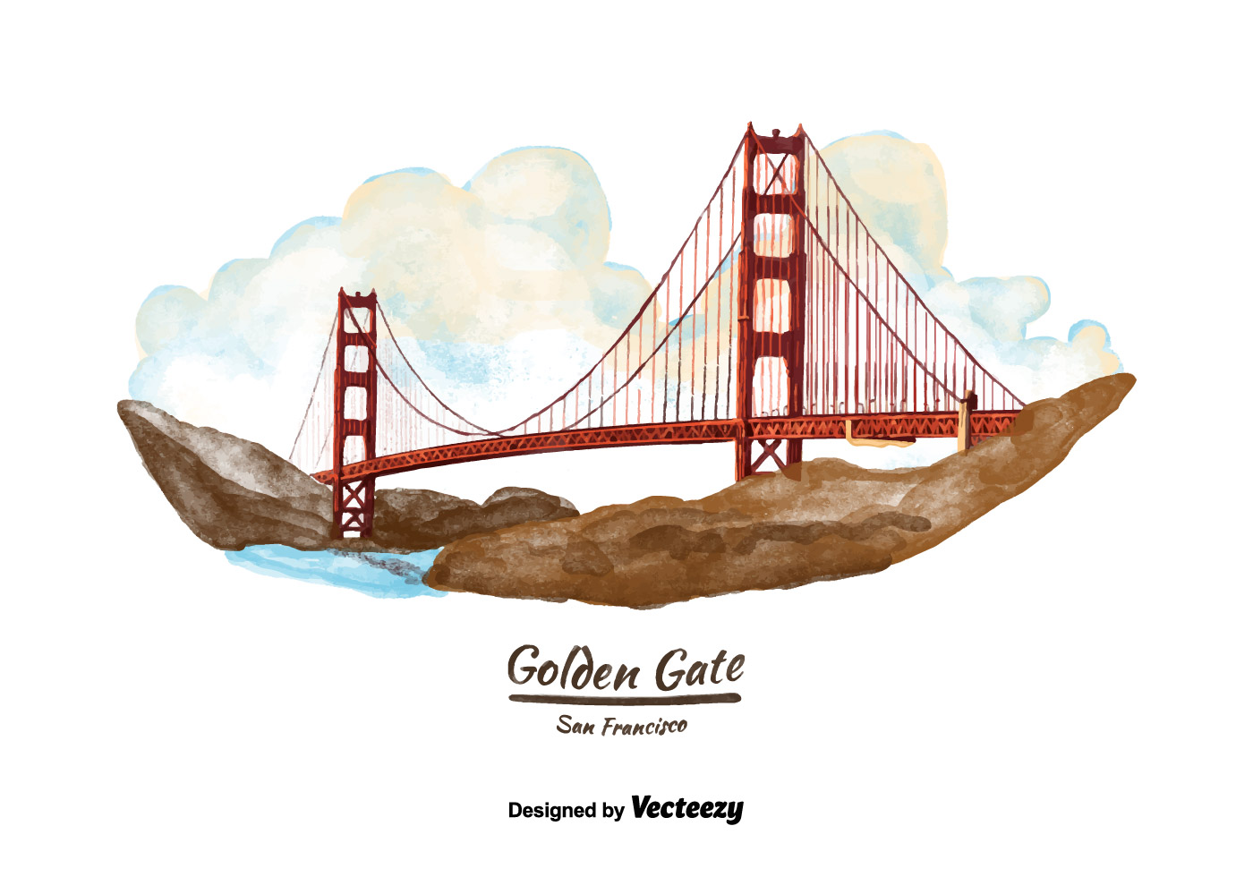 1400x980 San Francisco Golden Gate Bridge Watercolor Vector