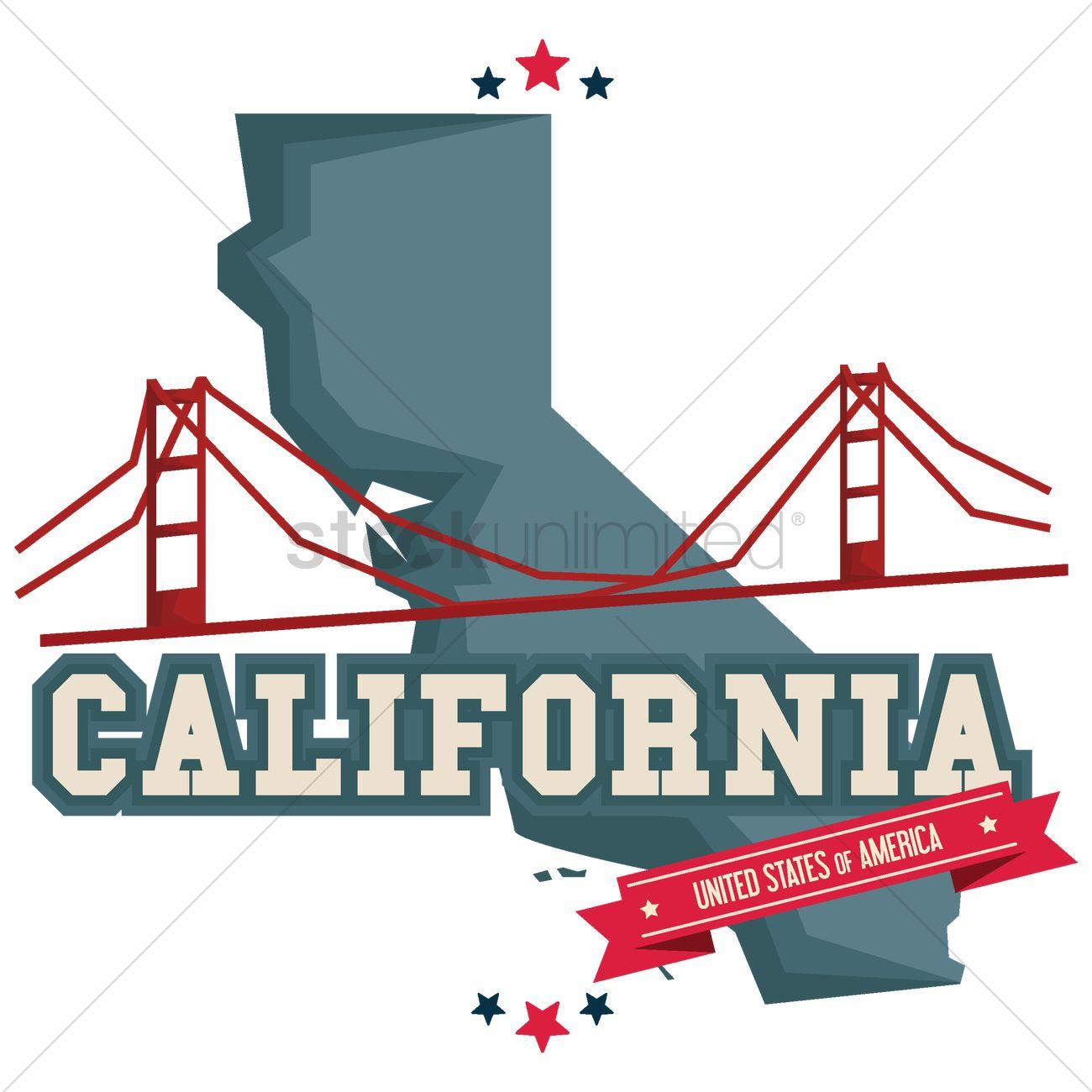 1300x1300 California Map With Golden Gate Bridge Vector Image