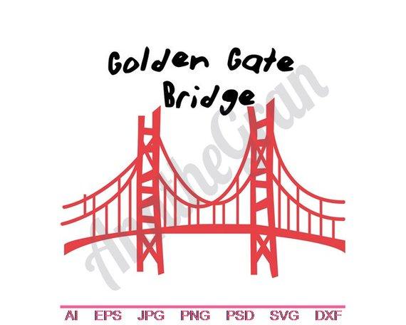 570x456 Golden Gate Bridge Svg Dxf Eps Png Jpg Vector Art Etsy