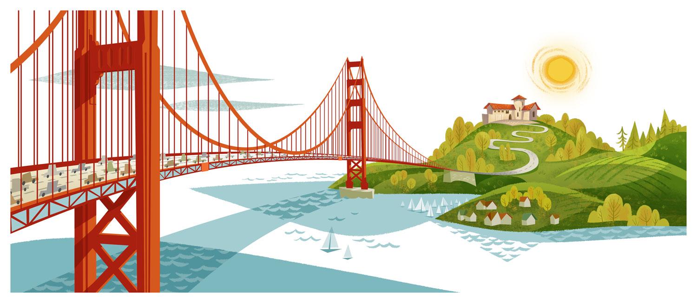 1500x654 Golden Gate Bridge Illustrationart And Design Inspiration From