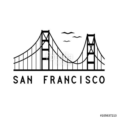500x500 Golden Gate Bridge Of San Francisco Vector Illustration Stock