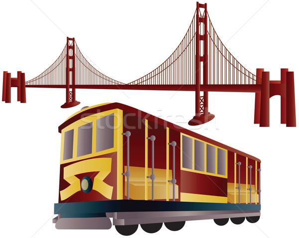 600x478 San Francisco Cable Car And Golden Gate Bridge Vector Illustration