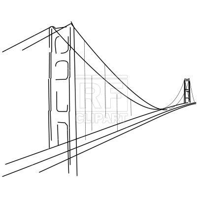 400x400 Symbolic Golden Gate Bridge Silhouette Vector Image Vector