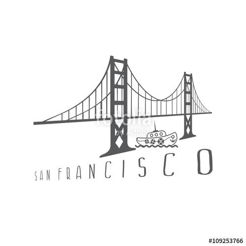 500x500 Golden Gate Bridge In San Francisco And Boat Vector Design Illus