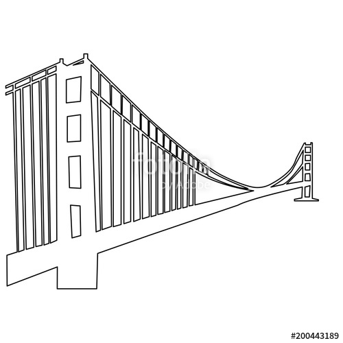 500x500 Golden Gate Bridge Outline On White Background Stock Image And