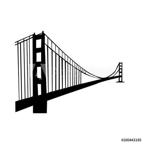 500x500 Golden Gate Bridge Silhouette On White Background, In Black