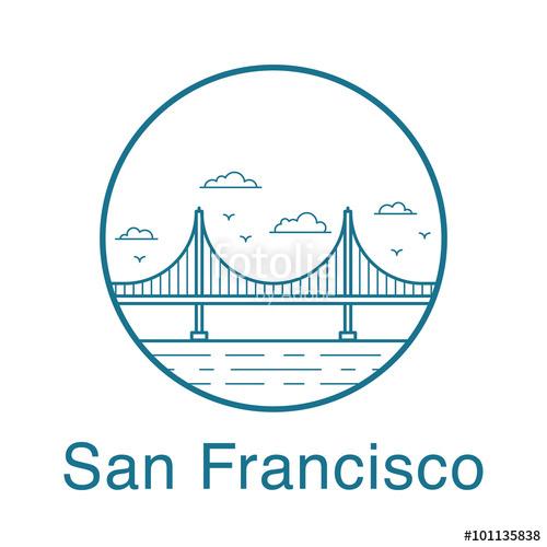 500x500 San Francisco Golden Gate Bridge. San Francisco Vector Badge In
