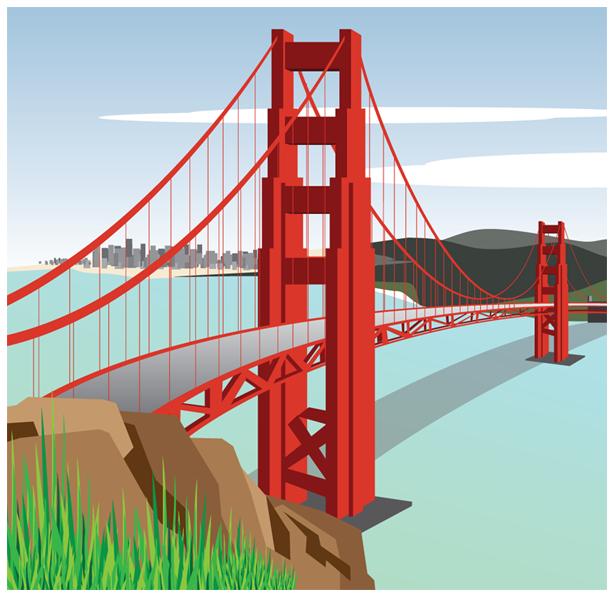 615x598 Vector Clipart Golden Gate Bridge 4