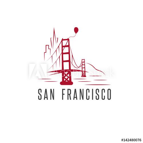 500x500 San Francisco Skyline,balloon And Golden Gate Bridge Vector Design