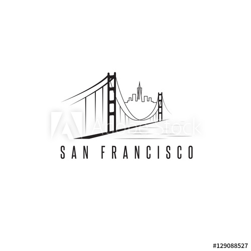 500x500 San Francisco Skyline And Golden Gate Bridge Vector Design Templ