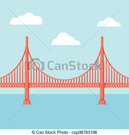 450x470 Golden Gate Bridge Illustration. Flat Cartoon Vector Style With