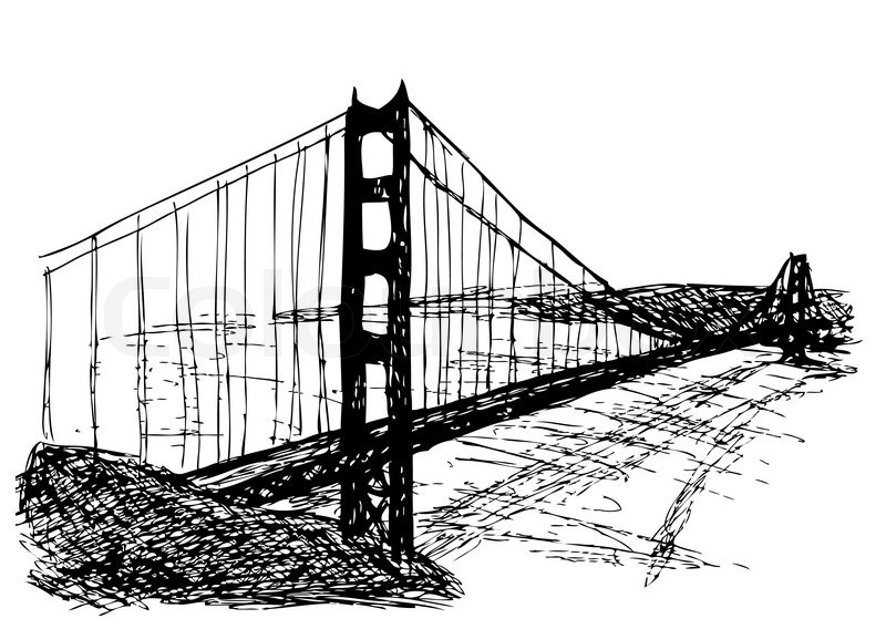 800x568 Golden Gate Bridge Isolated On The White Background Stock Vector