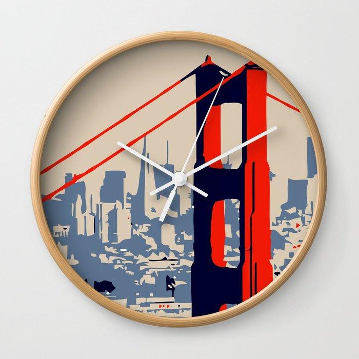 700x700 Golden Gate Bridge Vector Art Wall Clock By Aapshop Society6