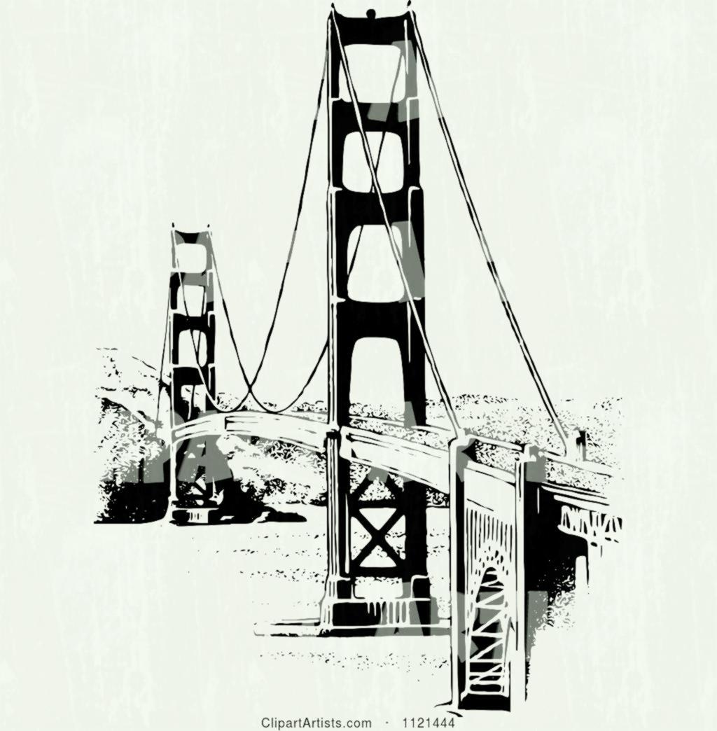 1024x1044 Retro Vintage Black And White Golden Gate Bridge Clipart By Prawny