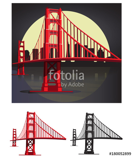 425x500 San Francisco Bay Golden Gate Bridge Vector Illustration Pack