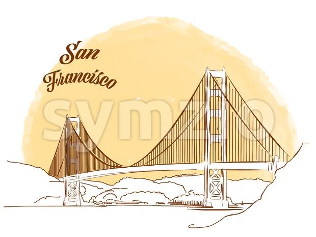 620x465 Sketch Of Golden Gate Bridge Vector Illustration 141033