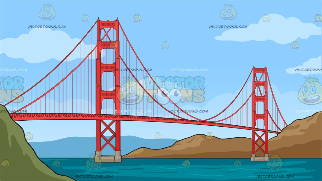 1024x576 The Golden Gate Bridge Background Clipart By Vector Toons