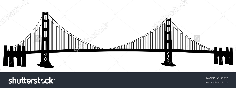 1500x561 Vector Clipart Golden Gate Bridge 13