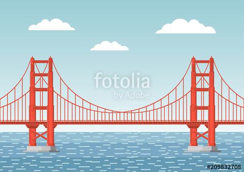500x354 Vector Illustration. Golden Gate Bridge. Flat Style. Stock Image