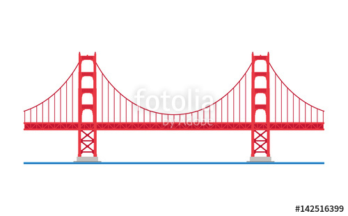 500x310 Golden Gate Bridge, San Francisco, Usa. Isolated On White