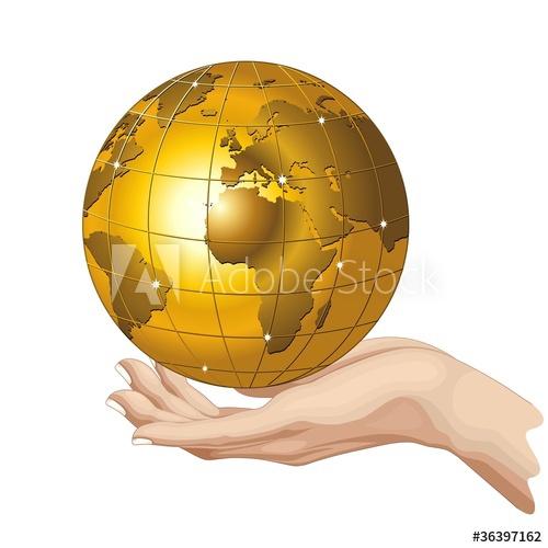 500x500 Globo Mondo Oro In Mano Hand Holding A Golden Globe Vector