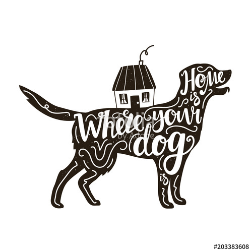 500x500 Vector Illustration With Golden Retriever Silhouette, House And