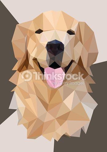 349x494 Low Poly Head Golden Retriever,vector Art Ideas In 2018