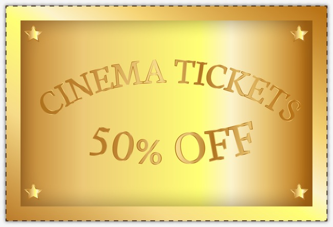 650x443 Movie Tickets Vector Material Golden, Movie Vector, Golden, Movie