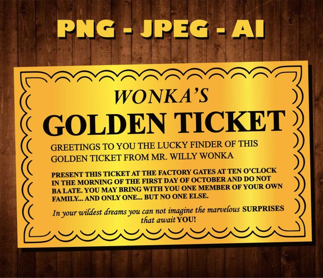 photograph relating to Wonka Golden Ticket Printable identified as Golden Ticket Vector at  No cost for person