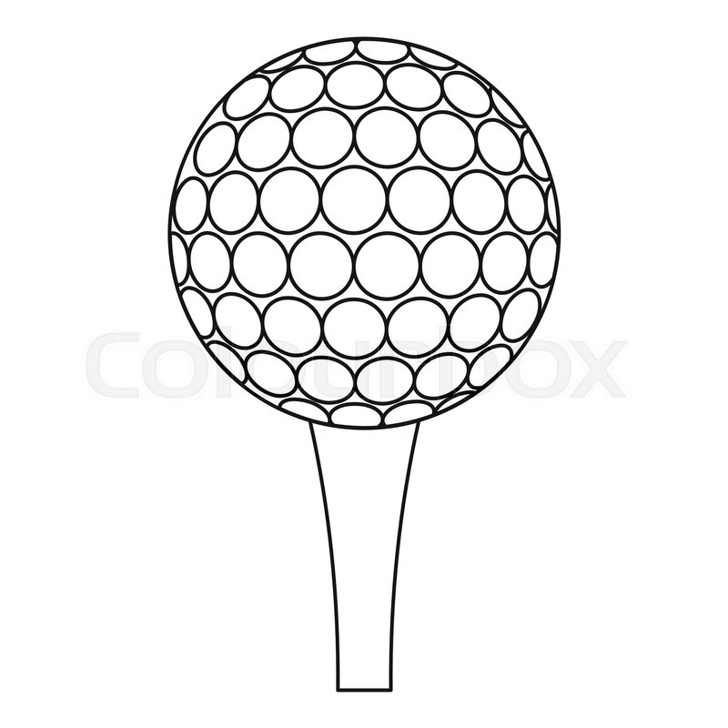 800x800 Golf Ball And Tee Icon. Outline Illustration Of Golf Ball And Tee
