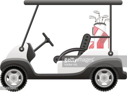 485x353 Golf Car Vector Illustration Premium Clipart