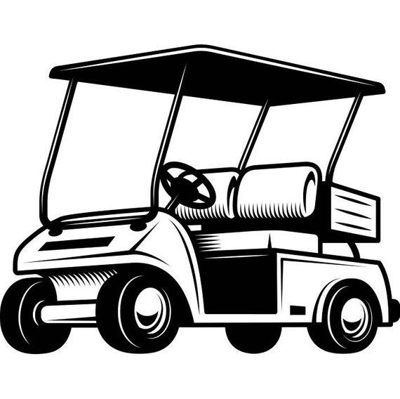 570x568 Golf Cart 1 Golfer Golfing Clubs Sports Course Cart Car Ball Etsy