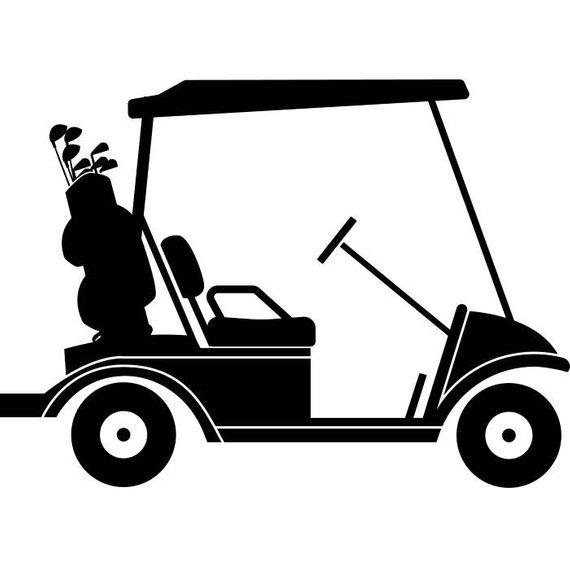 570x568 Golf Cart 3 Golfer Golfing Clubs Sports Course Cart Car Ball Etsy