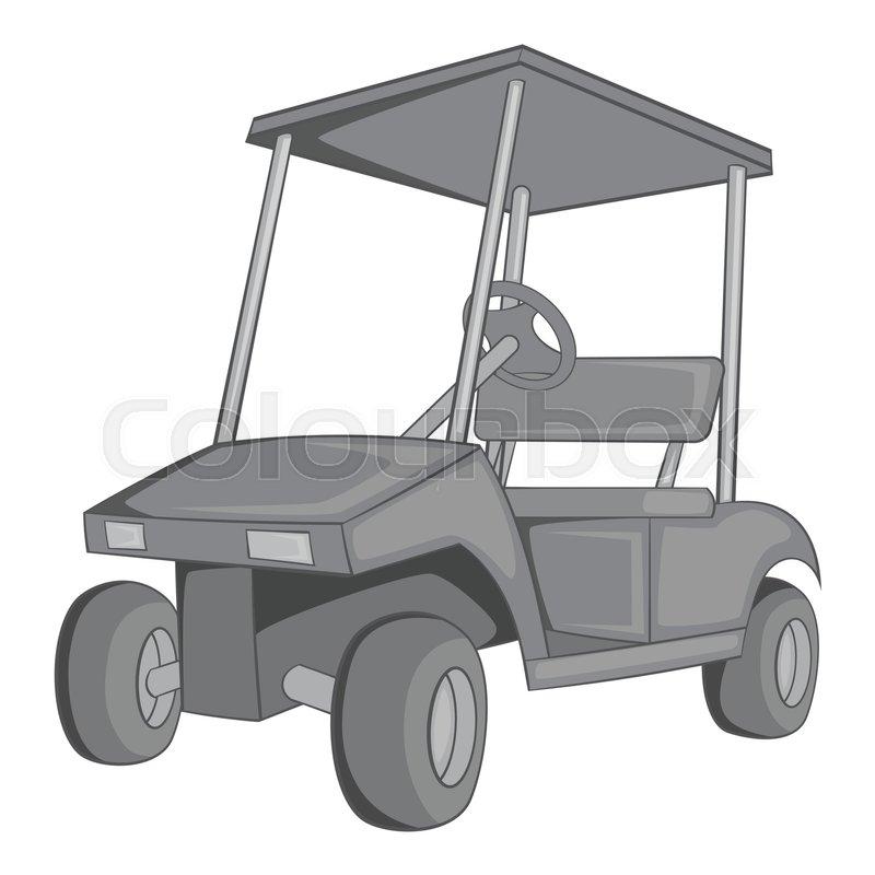 800x800 Golf Car Icon. Gray Monochrome Illustration Of Golf Car Vector