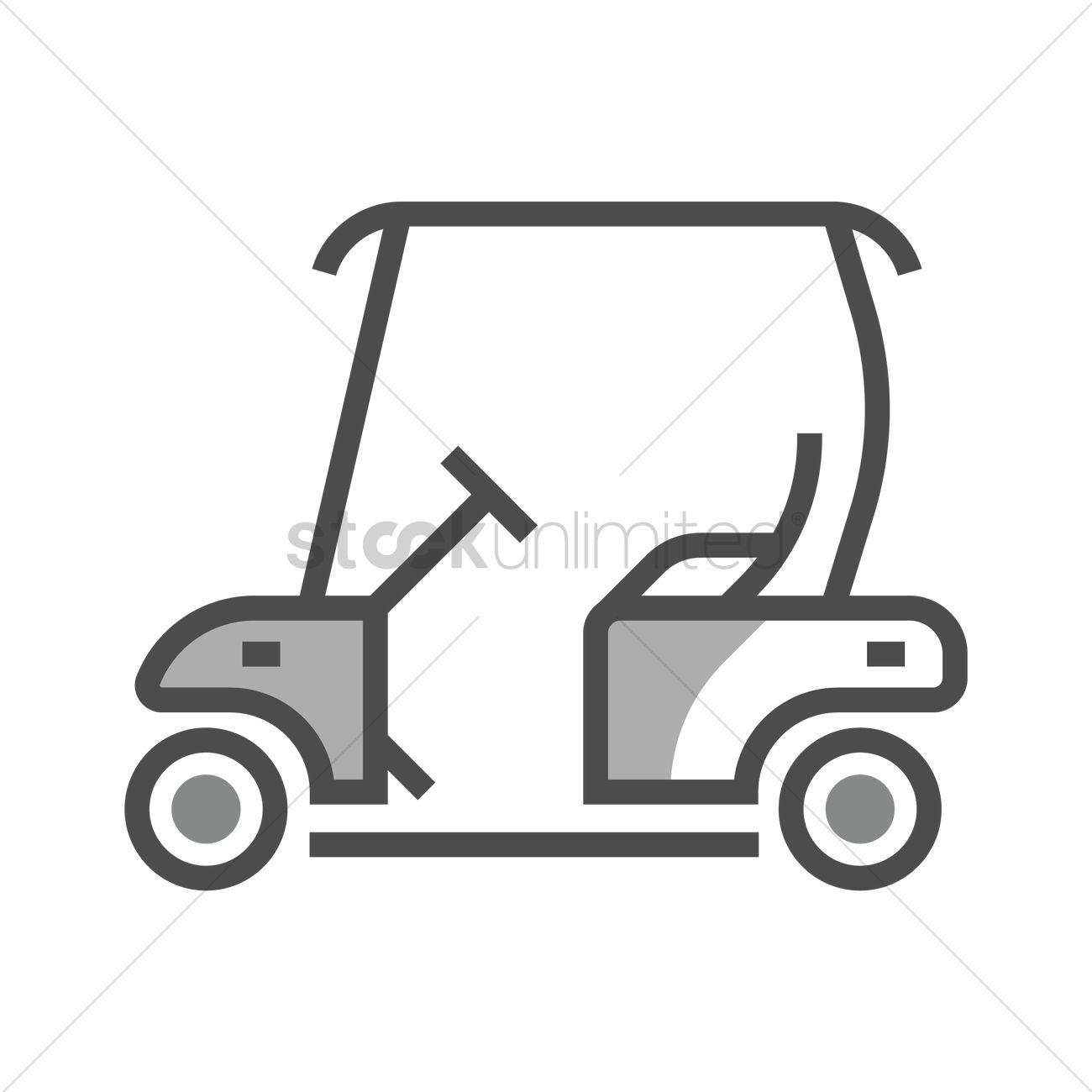 1300x1300 Golf Cart Vector Image