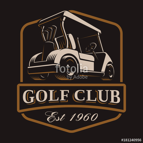 500x500 Golf Cart Vector Logo On Dark Background Stock Image And Royalty