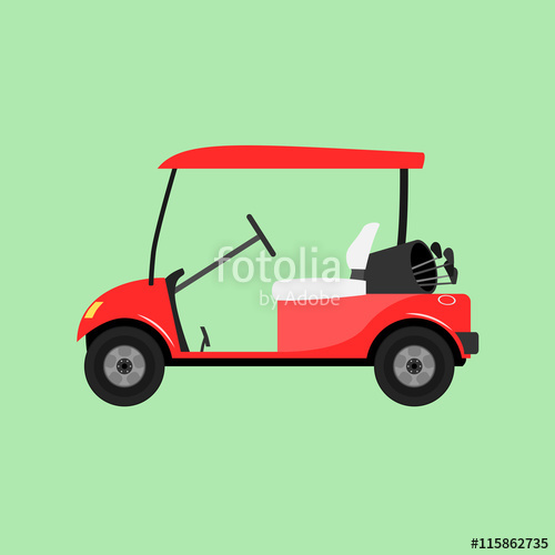 500x500 Red Empty Golf Cart. Vector Illustration Isolated. Stock Image