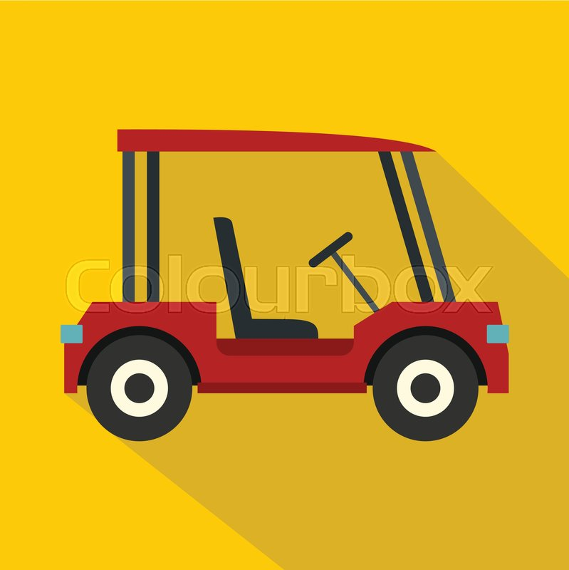 799x800 Red Golf Cart Icon. Flat Illustration Of Red Golf Cart Vector Icon